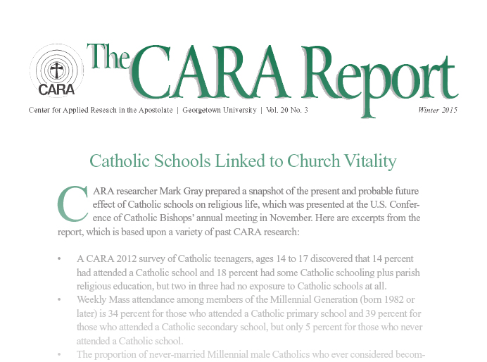 From the CARA Report: Catholic Schools Linked to Church Vitality