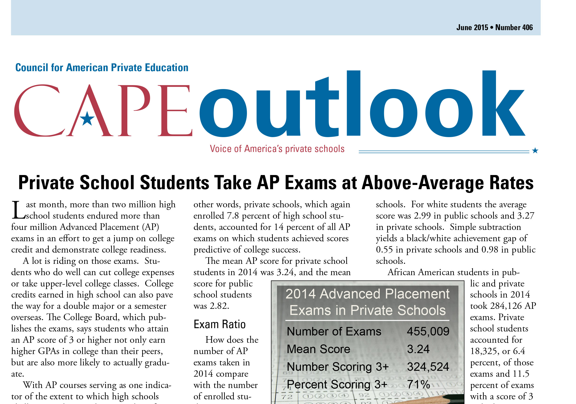 From CAPE Outlook: Private School Students Take AP Exams at Above-Average Rates