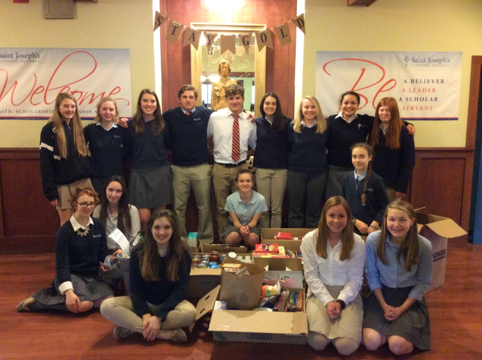 Saint Joseph's Catholic Academy Students Collected Nearly 500 lbs of Items for Food Bank