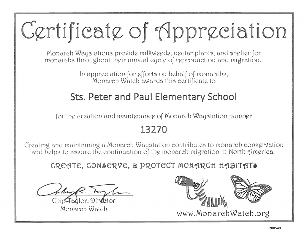 Sts. Peter & Paul School Monarch Butterfly Rescue Grant Program May Update