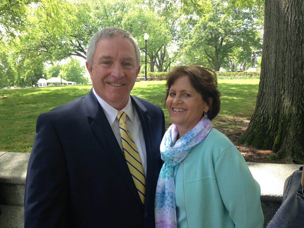 Joseph (Jay) Brennan principal of Bishop Hendricken and wife Diane Brennan in line at White House