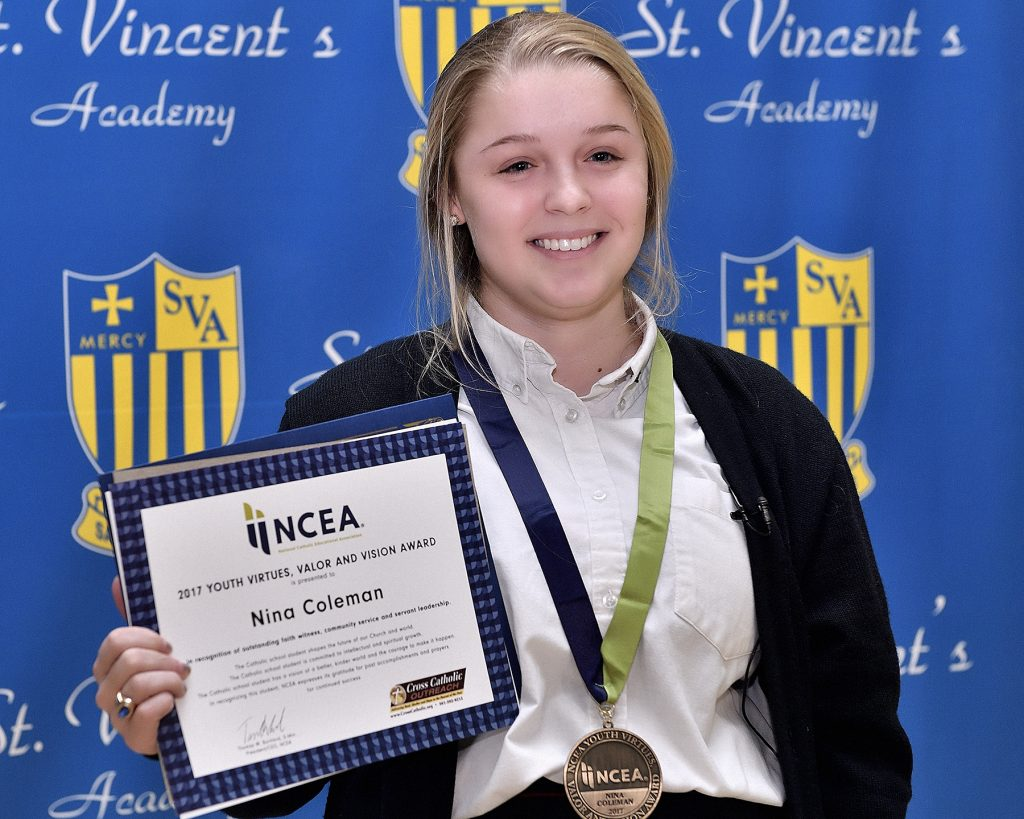 Addie Coleman, NCEA Youth Virtues, Valor and Vision Award Winner