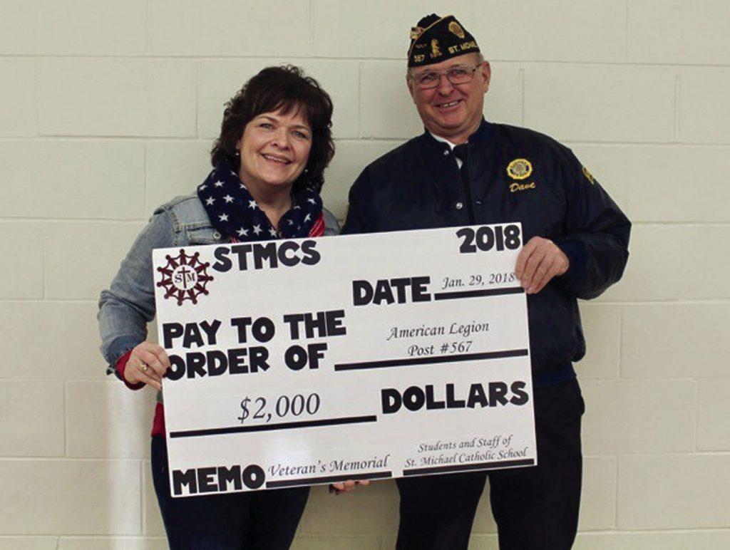 St. Michael Catholic School donates to Vet's Memorial project